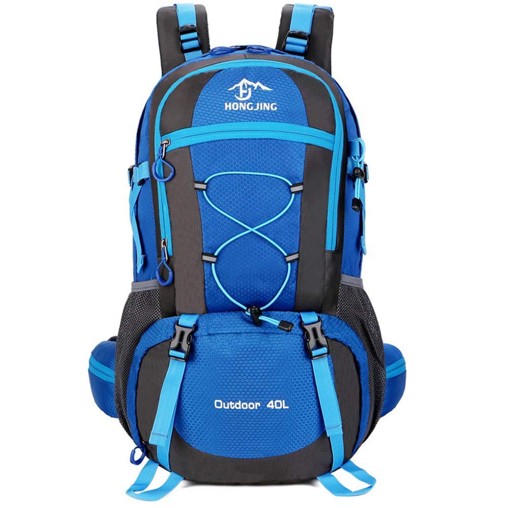 bleu  Sacs à dos de randonnée légers 40L Sacs à dos de trekking légers en nylon imperméable à l'eau Sacs à dos de montagne décontractés avec housse de pluie pour le voyage en plein air