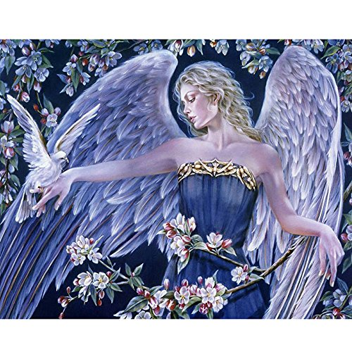 Cyhulu 5D Full Diamond Painting, Fancy Beautiful 5D Embroidery Paintings Rhinestone Pasted DIY Canvas Painting Cross Stitch, Angel by Cyhulu (Image #4)