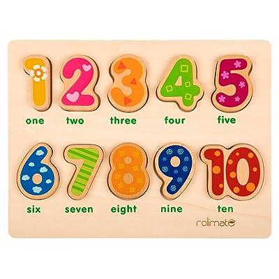 10 numéros Pré-scolaire Développement éducatif précoce Puzzles en bois, jouet cadeau d'anniversaire pour l'âge 1 2 3 Enfants Tout-petits Bébés Garçons Filles (Appu