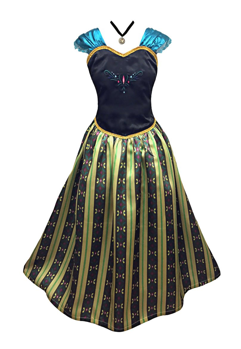 American Vogue Girls Princess Anna Elsa Coronation Dress Costume with Choker Necklace (10-11 Years & Necklace, Olive)