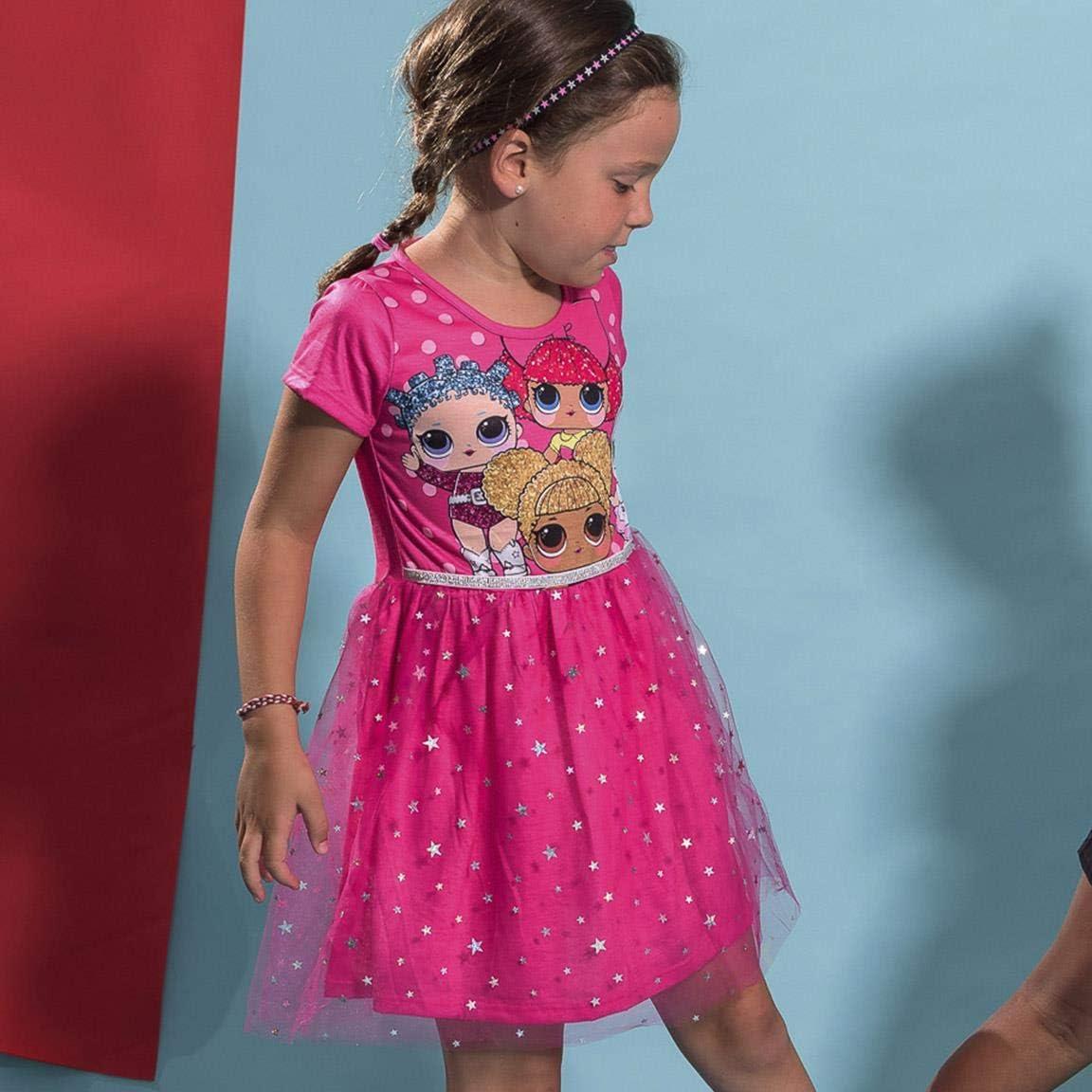 Regalo per Bambina 5 a 12 Anni Gonna in Tulle Tutu Balletto Luccicante 3D Vestito a Maniche Corte per Bambina L O L Surprise Festa di Compleanno Principessa Vestito Estivo