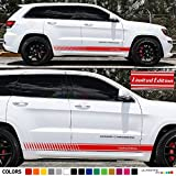 Set of Racing Side Stripes Decal Sticker Graphic Compatible with Jeep Grand Cherokee Limited Edition WK2 SRT8