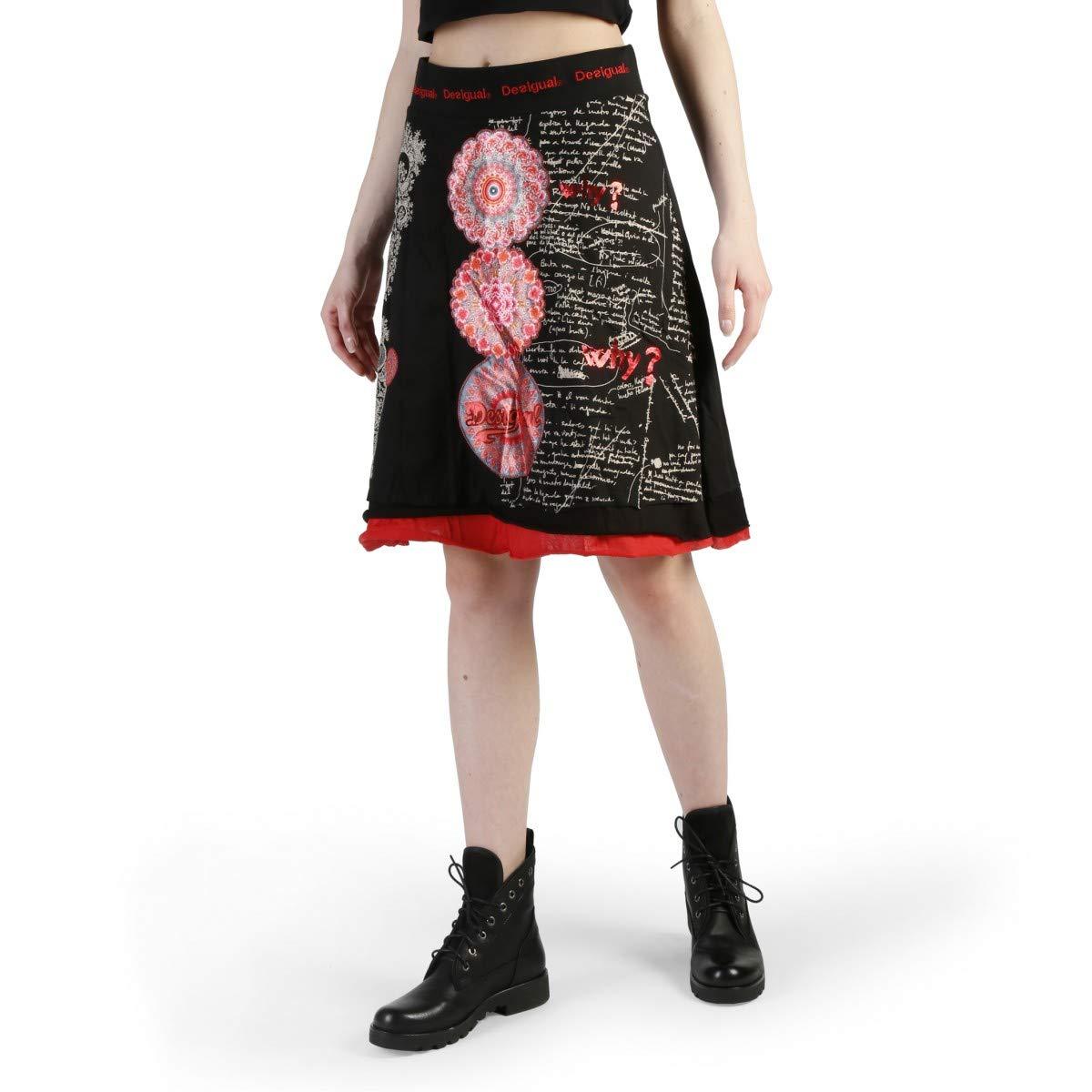 Desigual Falda 47F2802 Mujer Color Negro talla: M: Amazon.es ...
