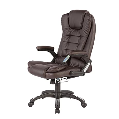 sgs office massage chair executive heated vibrating computer chair brown