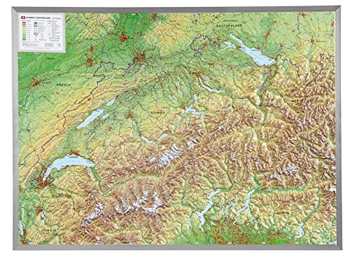 Relief Schweiz  1:500.000 mit Aluminiumrahmen