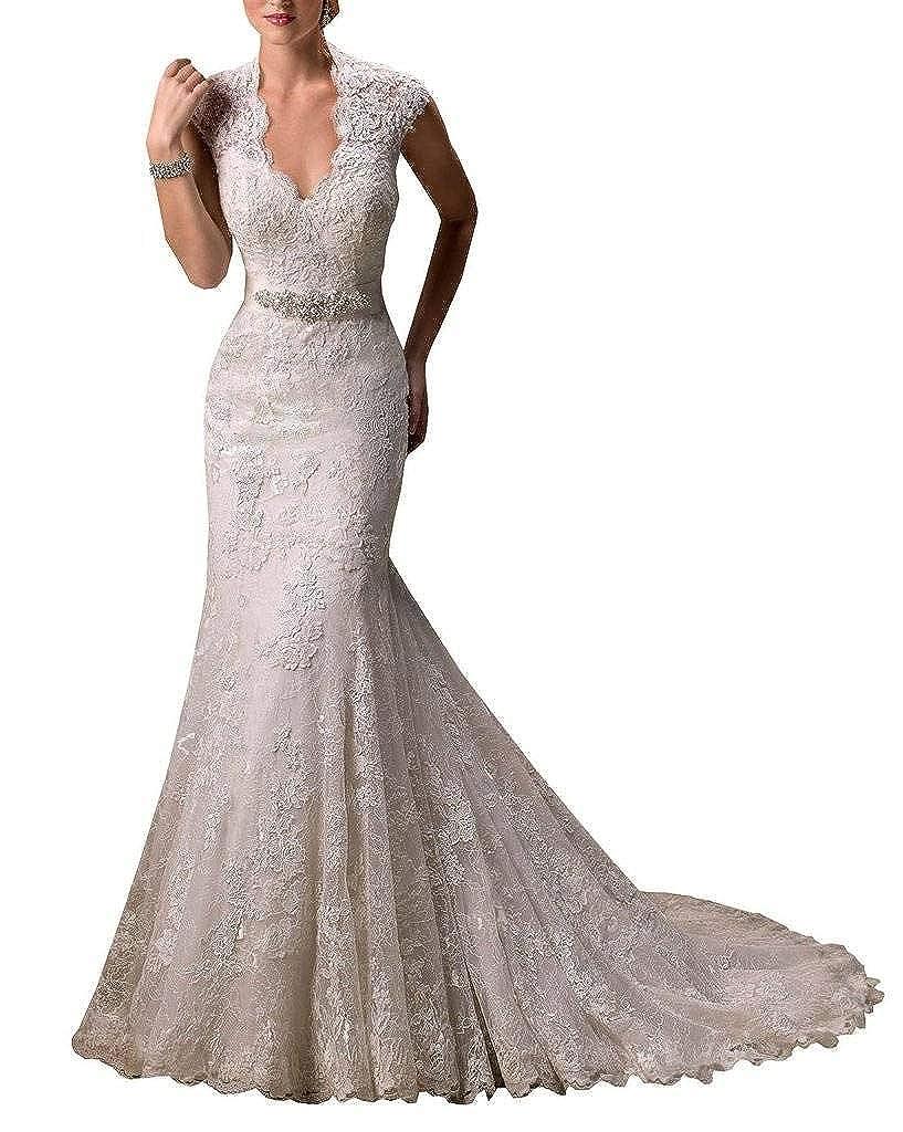Unbranded* Yipeisha Women's V-Neck Lace Vine Shoulder Straps Sweep Train Wedding Dress