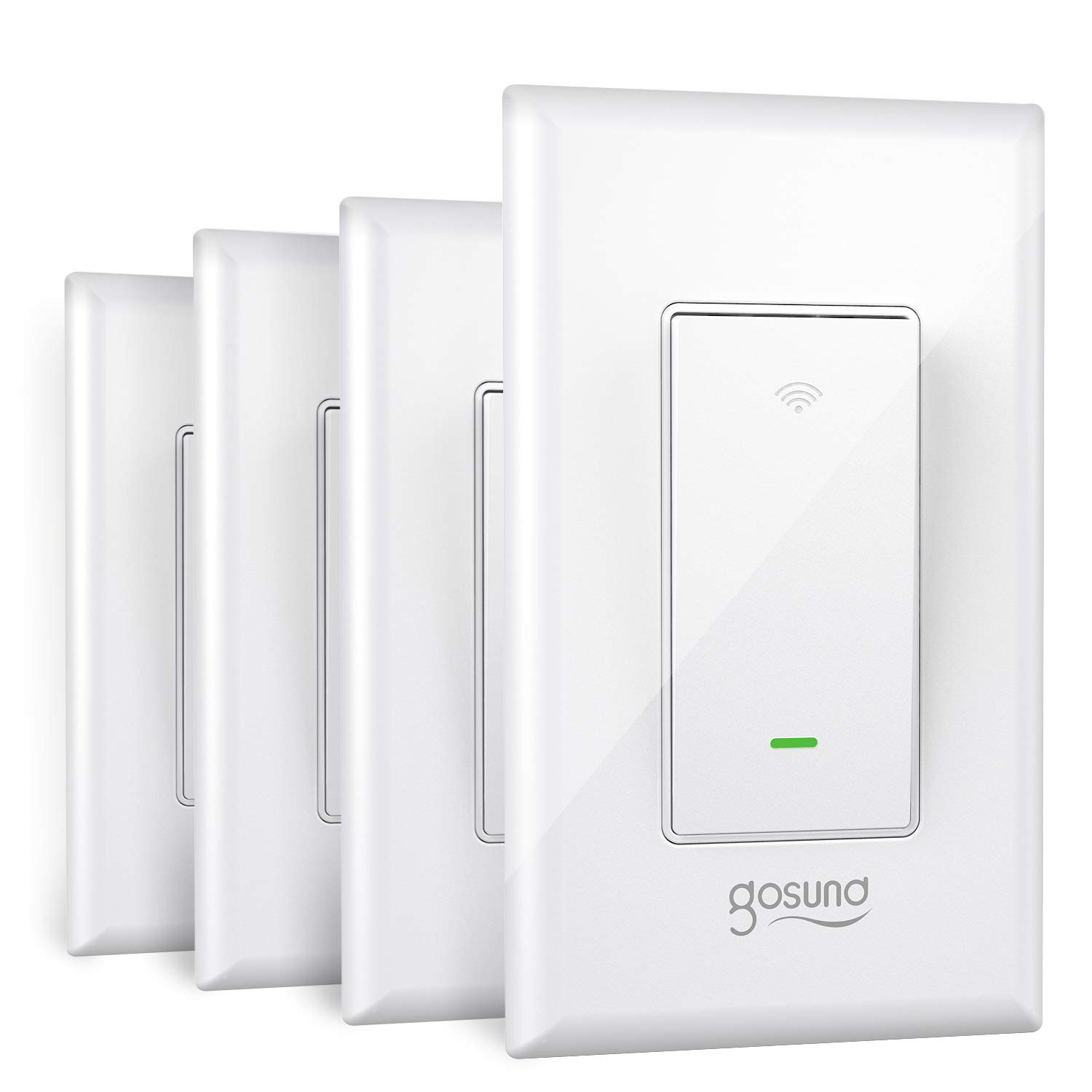 Gosund Smart Switch, 3 Way WiFi Light Switch Works with Alexa and Google Home, Schedule Timer, Neutral Wire Required, Single-Pole and 3-Way Installation, No Hub Required, ETL and FCC Listed (4-Pack)