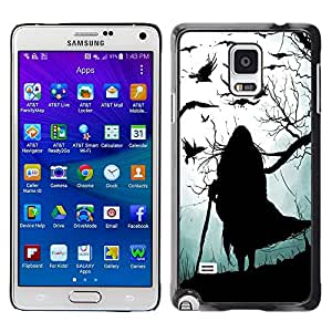 LECELL--Funda protectora / Cubierta / Piel For Samsung Galaxy Note 4 SM-N910 -- Witch Grey Black Halloween Old --