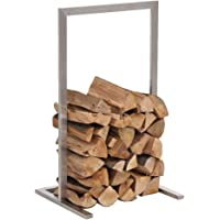 CLP Porte-bûches - Étagère porte bois de cheminée SIDONE - Construction Stable en Acier Inoxydable - Moderne et Robuste avec Patins de protection du sol - 7 Tailles au Choix: