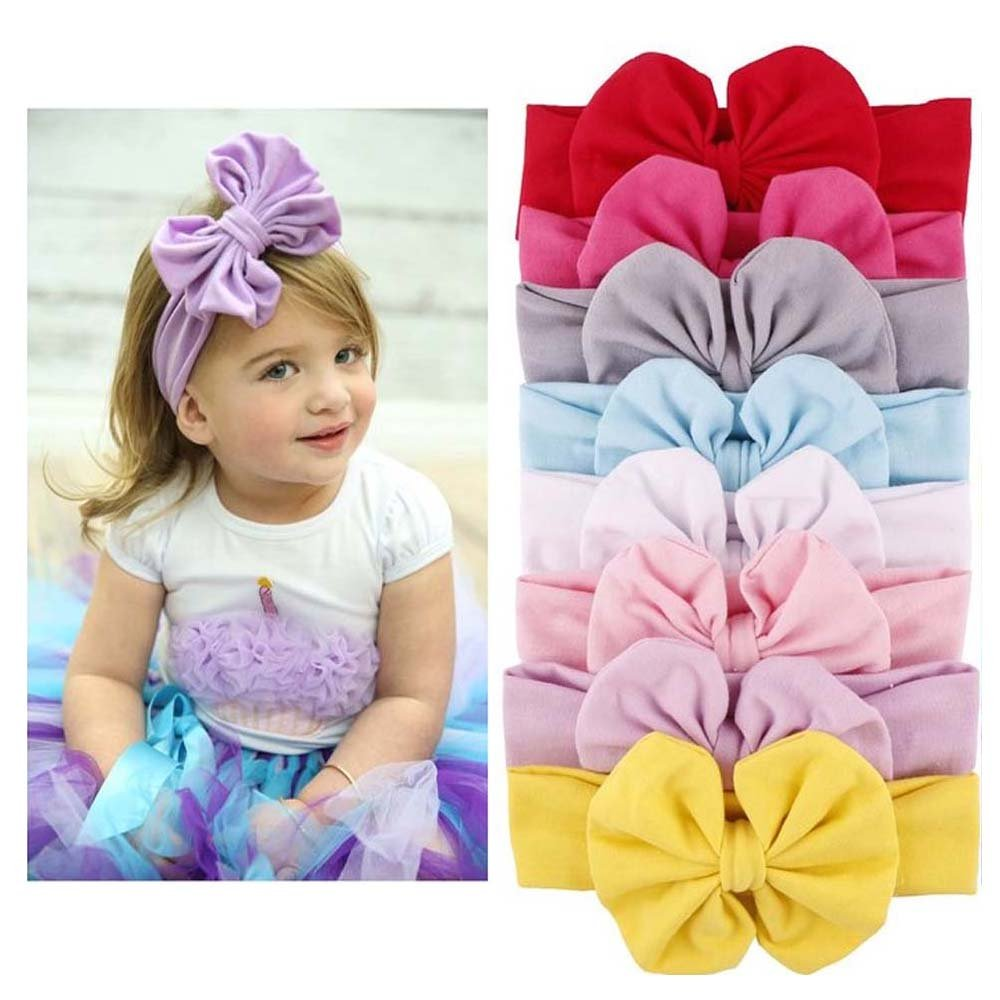 LifeFly 8 Pcs Baby Girl Newest Turban Headband Girls Soft Headbands with Bows