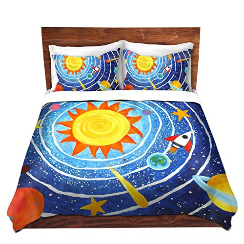 DiaNoche Designs Enjoy Art-Solar System VII Brushed Twill Home Decor Bedding Cover, 7 Queen Duvet Sham Set by DiaNoche Designs