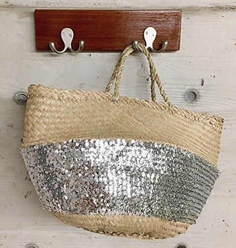 Large Silver Sequined Seagrass Boho Belly Basket Laundry Storage (Sequined Straw)