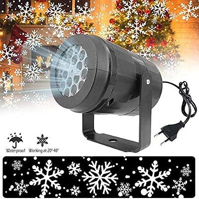 Baiwka Proyector De Luz Led Nevadas, 360 Giratorio Copo De Nieve Proyector De Navidad Luces LED De Interior para Halloween Cumpleaños Boda Tema Fiesta ...