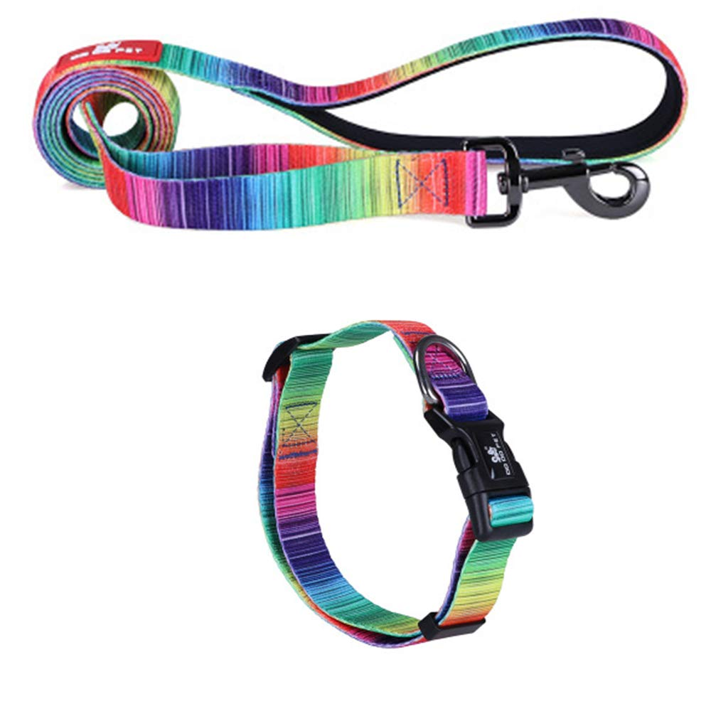 Rainbowcolor MediumExplosionProof Polyester Soft and Comfortable Dog Leash