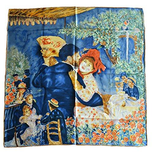 YSSP, Dance At Bougival 1883-Pierre Auguste Renoir's Painting, Square Elegant Luxury Fashion 100 Silk Scarf Premium Shawl Wrap - Renoir Dance