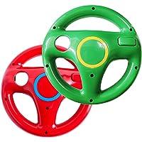 Volante de Wii para Wii Mario Kart Racing Wheel para Nintendo Wii U Remote Controller [paquete de 2] (Rojo y Verde)