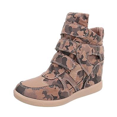 0b2fb8c05f0e Chaussures femme Baskets mode Compensé Sneakers Espadrilles high  Ital-Design  Amazon.fr  Chaussures et Sacs