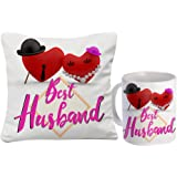 Sky Trends Gift For Husband||Birthday Gift 12X12 Cushion With Filler And Mug