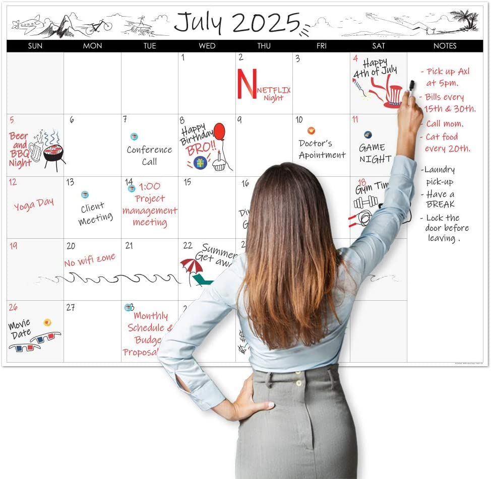 """Lushleaf Designs - Large Dry Erase Calendar - 36""""x48"""" Undated Erasable Monthly Calendar- Laminated Wall Calendar for Home and Office Organization (Horizontal)"""