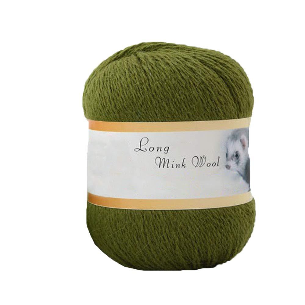 Grass Green Mink Cashmere Yarn Hand Knitting Wool Yarn Long Plush Wool Yarn Crochet Sacrf Shawl Sweater Hat Winter Yarn 200g