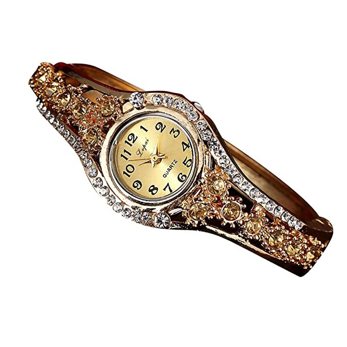 Dressin Womens Bracelet Bangle Watch,Fashion Rhinestone Small Dial Metal Band Analog Quartz Wrist Watch