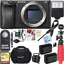 Sony a6300 4K Mirrorless Digital Camera Body w/ APS-C Sensor ILCE-6300 + 64GB SDXC Memory + Dual Battery Kit + Complete Micro 4/3rd Accessory Bundle