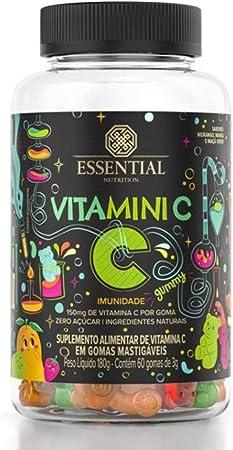 Vitamini C Gummy - 60 Gomas Morango, Manga e Maçã Verde- Essential Nutrition, Essential Nutrition