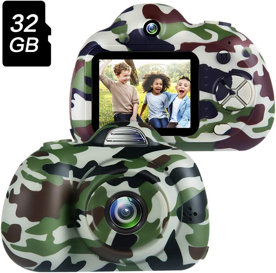 Amazon Com Omway Kids Camera For Boys 4 5 6 7 Year Old Boy Gifts Toys For 6 7 Year Old Boys Best Gifts For Toddlers Camping Kids Digital Video Camcorders Camo 32gb Sd Card Included Toys Games