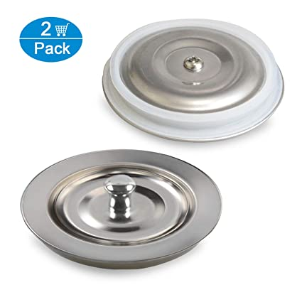 Kitchen Sink Drain Stopper with Soft Silicone Seal (Not Rubber) Ewadoo  SUS304 Stainless Steel Heavy Duty Sealing Lid for Kitchen Sink & Garbage ...