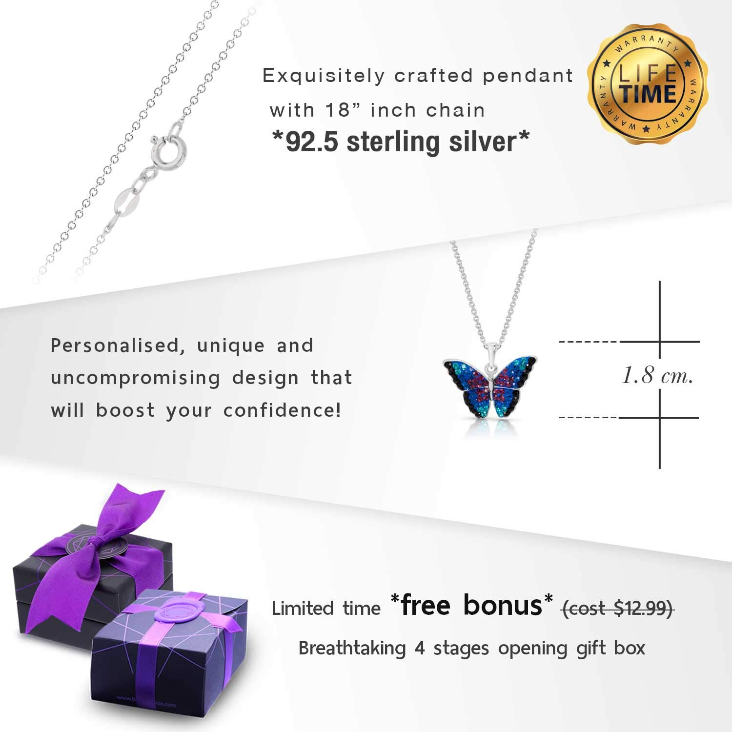 BLING BIJOUX Jewelry Blue Rainbow Crystal Monarch Butterfly Pendant Never Rust 925 Sterling Silver Natural and Hypoallergenic Chain with Free Breathtaking Gift Box for a Special Moment of Love by BLING BIJOUX Jewelry (Image #4)
