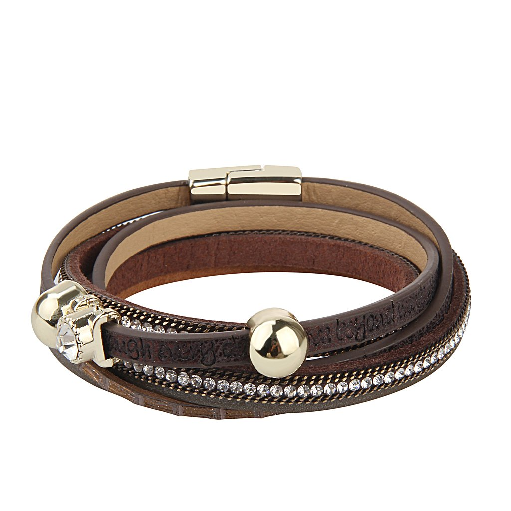 Jenia Brown Letter Engraved Leather Wrap Bracelet - Personality Multi-layer Cuff Bangle Rope Band Handmade Jewelry with Zircon, Rhinestone for Women,Teens Girl