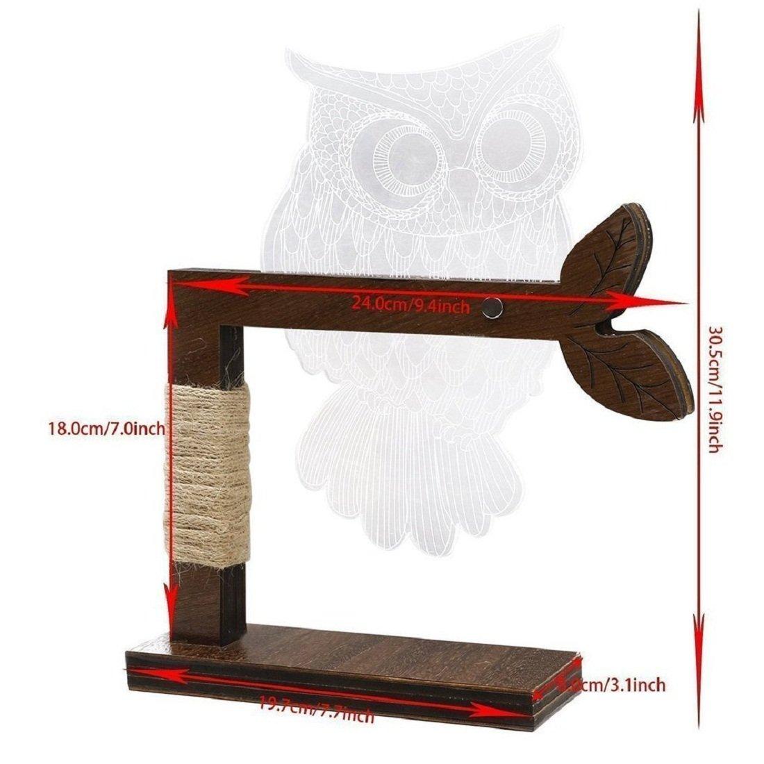 Aidool Home 3D Owl Shape LED Desk Lamp Adjustable Brightness Table Night Light US Plug