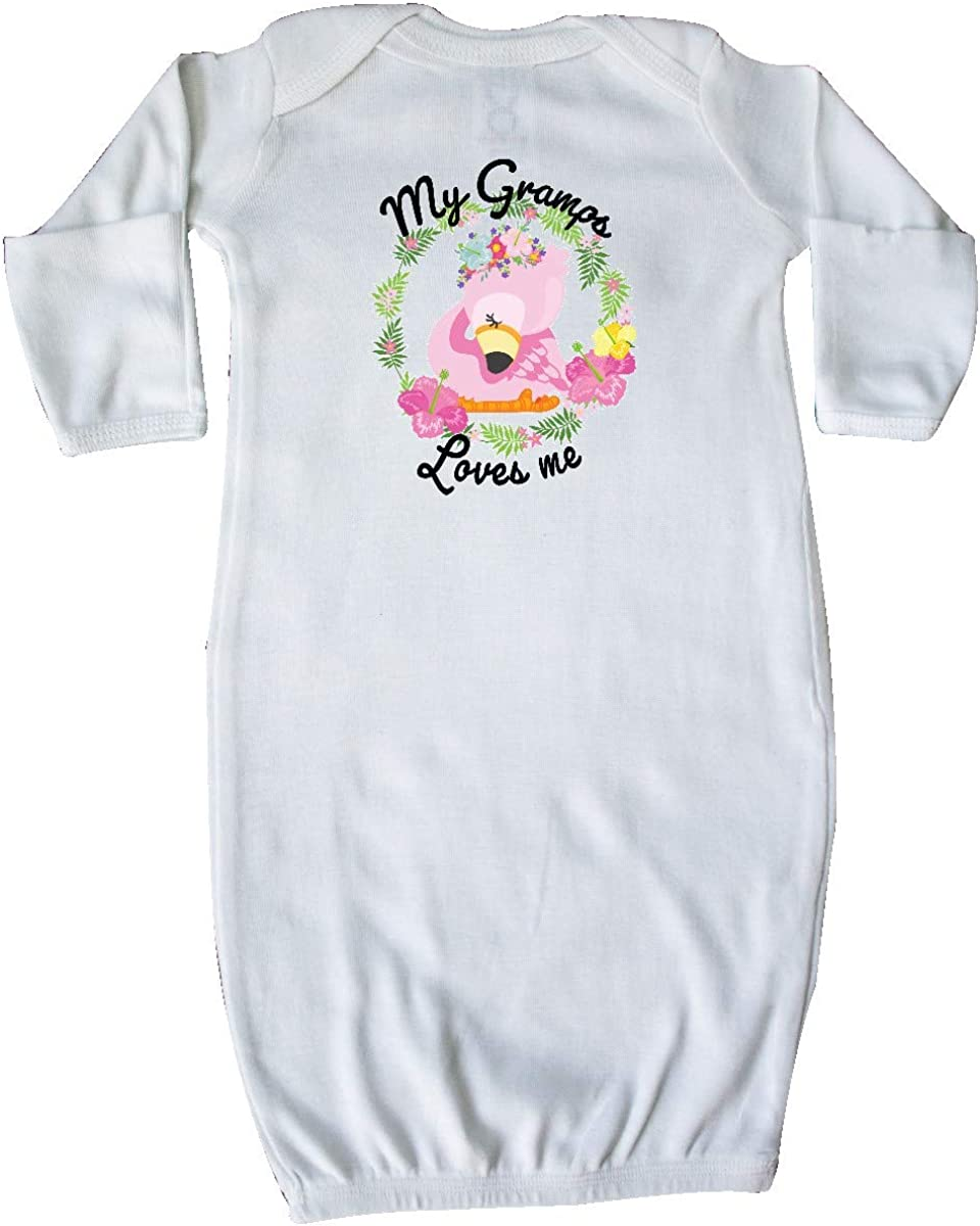 inktastic Baby Flamingo My Gramps Loves Me with Flower Wreath Baby T-Shirt