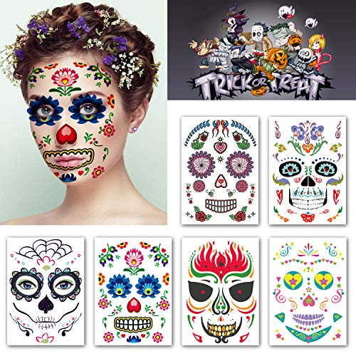 Kotbs 6 Sheets Temporary Floral Tattoos Day of the Dead Halloween Temporary Face Tattoo Kit for Women Men Tattoo Sticker Full Face Tattoo Mask Waterproof Fake Tattoo]()