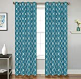 2 Piece Set LUXY Window Panels Embroidered Grommet Top Decorative Curtains, 54″x84″ & 54″x95″ (54″x84″, Ocean Blue)