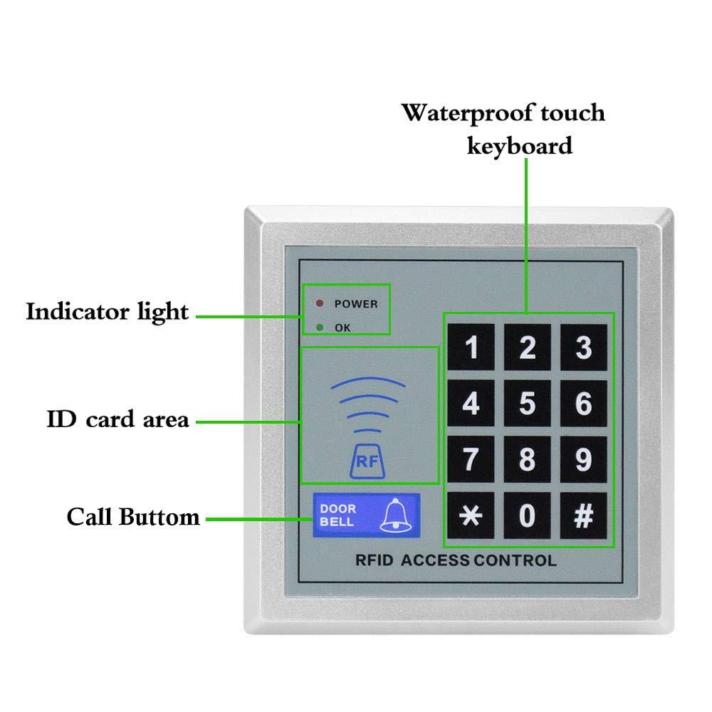 10pcs Schl/üsseletiketten f/ür einzelne T/üren 12V-Stromversorgung NN99 Zugangskontrollsystem-Kit T/üreinstieg 125KHz RFID-Tastatur mit Wasserdichten 180KG-Elektromagnetschl/össern