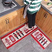 MAXYOYO British Style Kitchen Mat Runner Rug Set, 2 Pieces Rug Set Doormat for Hollway/Kitchen/Entrance Way, Non Slip Runner Carpet 24 x 16 In + 47 x 16 In