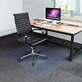 YesHom 60x46'' Rectangle PVC Floor Mat Protector Studded Back 2.5mm for Low Pile Carpet Home Office Rolling Chairs