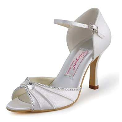 2117f1db6 ElegantPark EL-033 Women s Pumps Peep Toe High Heels Pleated Rhinestones  Satin Wedding Bridal Shoes