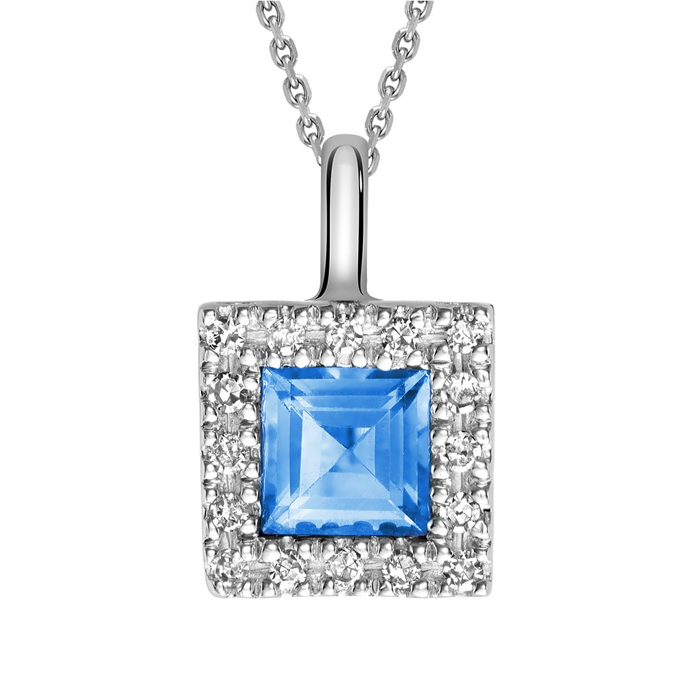 10K Gold Natural Diamond and Princess cut Genuine Blue Topaz Pendant (0.08TDW H-I Color,I1 Clarity) 18'' Cable Chain (blue-topaz)
