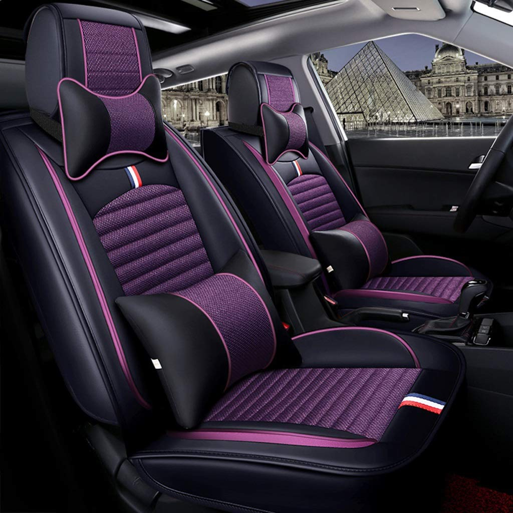 TUSOSNC Seat Covers for Cars Full Car Seat Cover Full Set, Leather & Linen Fit 5 Seat Car - Year Round Use (Color : Black+Purple)