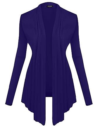 3fca4992753 Modfine Cardigan Manche Longue Femme Casual Uni Gilet Ouvert Long Haut Mode