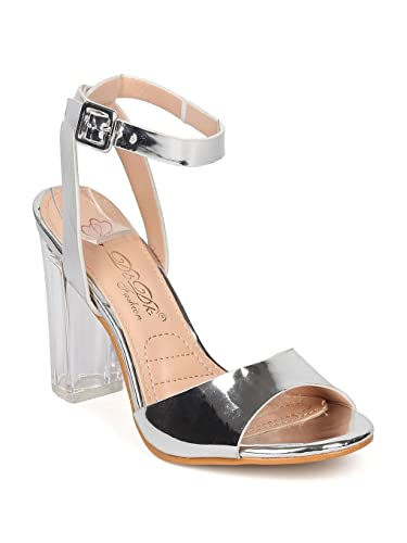 b4f84c19647 DBDK Women Metallic Leatherette Ankle Strap Lucite Block Heel Sandal GE52 -  Silver (Size