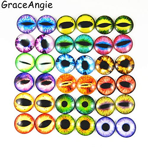 - Laliva Accessories - 10-50pcs 6-30mm Glass Dragon Lizard Frog Vivid Cat Tiger Eye Pupil Handmade Cabochon Not Heated Crafts Toys Eye Charms Accessory - (Size: 30mm 10pcs)