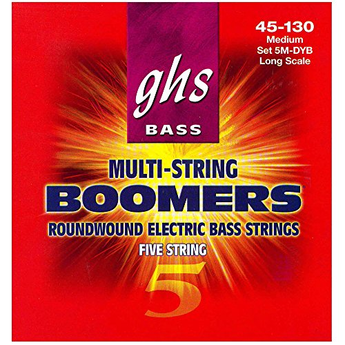 Long Scale Electric Bass (GHS Strings 5M-DYB 5-String Bass Boomers, Nickel-Plated Electric Bass Strings, Long Scale, Medium)