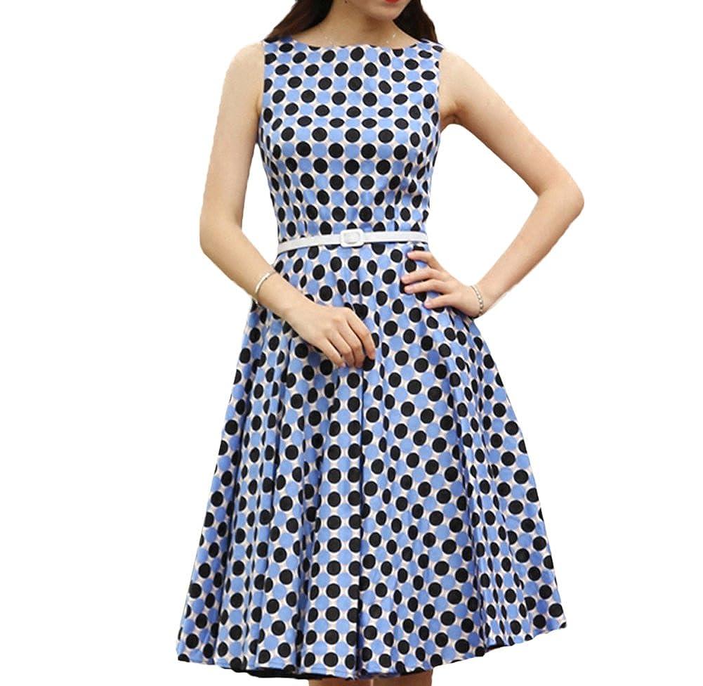 Scothen 50er Vestido de la correa alrededor del cuello elegante años rockabilly vestido de la impresión del vestido de partido del vestido de noche del ...
