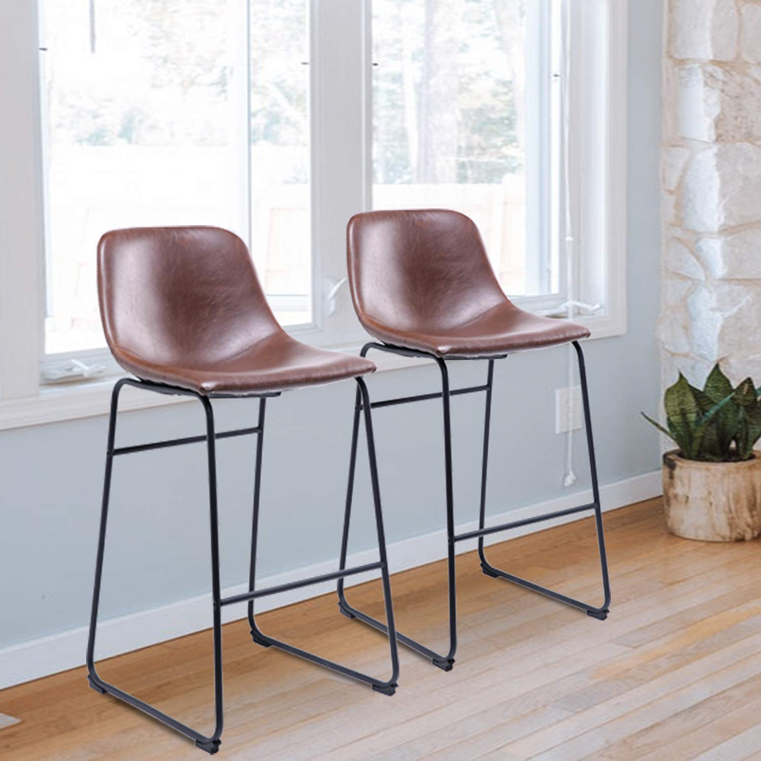 Rfiver PU Leather Bar Stools Dining Chairs Set of 2 with Back and Footrest in Antique Brown, Suitable for Kitchen and Dining Room, BS1002