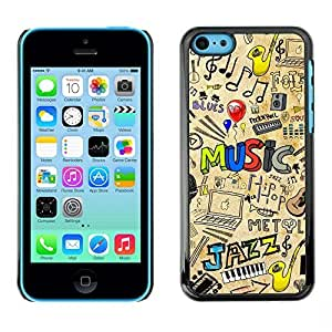 ROKK CASES / Apple Iphone 5C / MUSIC JAZZ PATTERN / Slim Black Plastic Case Cover Shell Armor