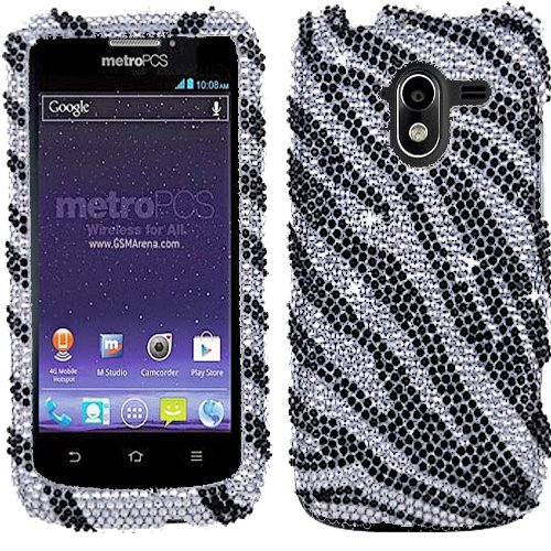 4g Case Pouch - Zebra Silver Black Bling Rhinestone Crystal Case Cover For ZTE Avid 4G with Free Pouch