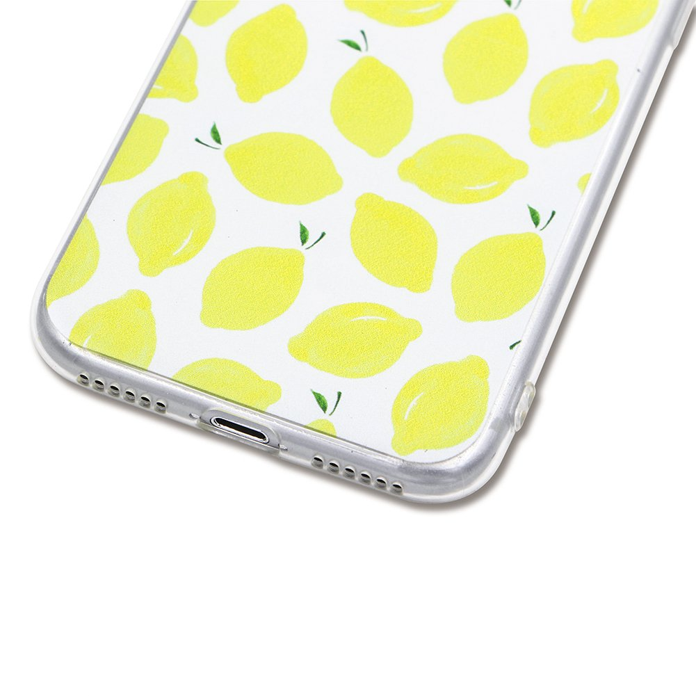 Amazon.com: Ultra Thin Silicone Case Cover for iPhone 7 Plus, Girlyard Cool Summer Fruit Lemon Fresh Phone Case Cover Slim Fit Soft Rubber TPU Protective ...